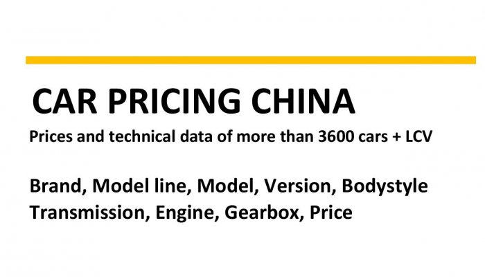 car pricing china